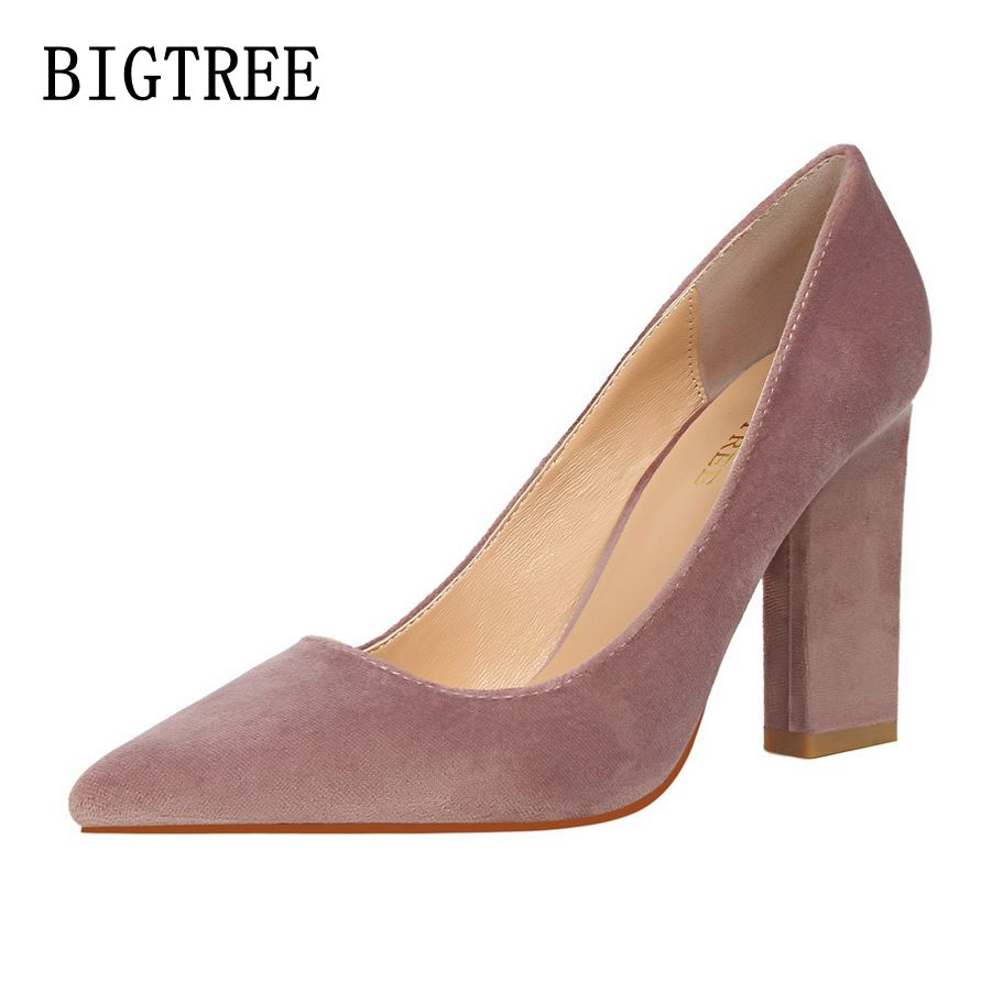 BIGTREE Spring fashion simple lady high heels shallow mouth pointed toe suede sexy shoes women work high heels free shipping bigtree spring autumn simple shallow mouth women pumps pointed sexy was thin nightclub 10 cm fine high heels shoes