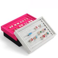 New Gray Color Jewelry Rings Display Show Case Organizer Tray Box Wholesale Free Shipping