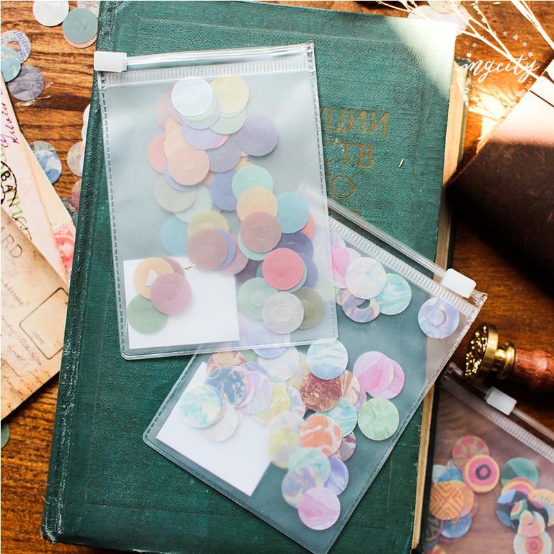 60pcs/pack Vintage Doodling Flower Decorative Diary Protect Sticker Scrapbook Decoration DIY Round Stickers School Office Supply