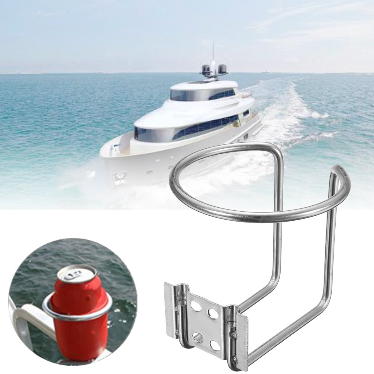 Universal Car Ring Cup Holder Stainless Steel Water Drink Beverage Bottle Stand Holder For Marine Boat Yacht Truck RV