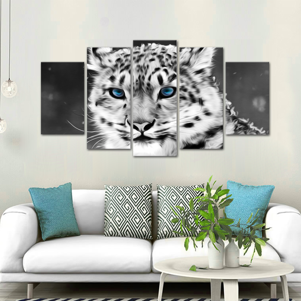 Leading Tenphy HD Print 5 Canvas Art Painting Blue Eyed Tiger Living Room Decoration Spray Painting Mural Unframed Free Shipping