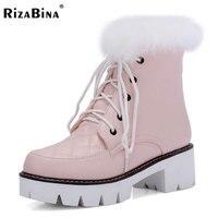 Rizabina حجم 33-43 النساء عالية الكعب الأحذية نصف قصيرة الثلوج الأحذية الفراء الكثيف في برد الشتاء بوتاس الأحذية الدافئة النساء الأحذية