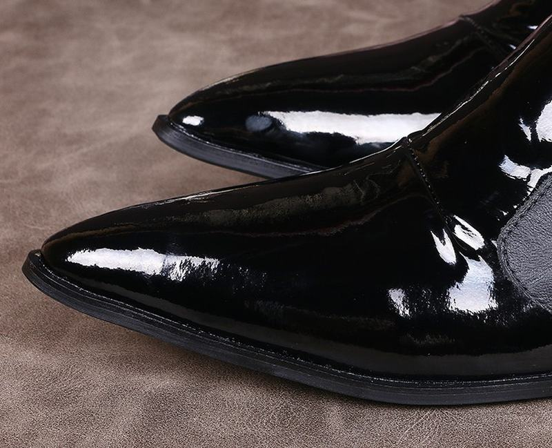 Handmade Genuine Patent leather with black men loafers Fashion party wedding male dress shoes mens pointed toe business shoes
