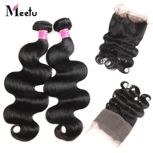 Meetu Indian Body Wave 360 lace frontal with bundles 100% Human Hair Bundles with 360 Closure Non Remy 2 Bundles with Frontal