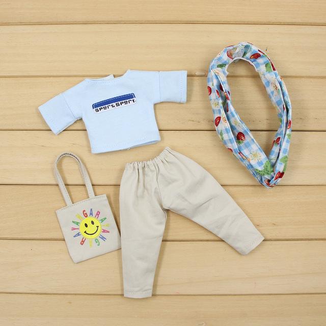 Neo Blythe Doll Oversize White Shirt & Pants With Hairband & Handbag