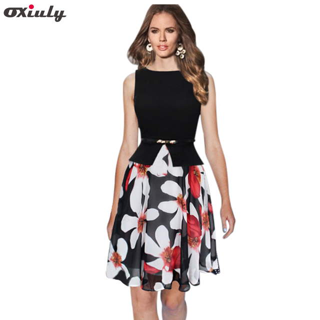 Oxiuly Womens Summer Elegant Belted Polka Dot Chiffon Floral Print Patchwork Tunic Work Office Party Fit and Flare A-Line Dress