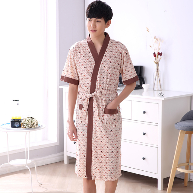 luxuriant in design search for official free shipping Aliexpress.com : Buy Summer Robe Male V neck Thin Knited Dressing Gown  Animal Men's Bathrobe Short Sleeve Long Robe Mens Bath Robe XL XXL 3XL 4XL  from ...