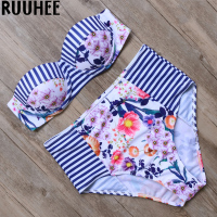 Floral Bikini Swimwear Swimsuit Women Hight Waist Bathing Suit Push Up Bikini Set Maillot De Bain