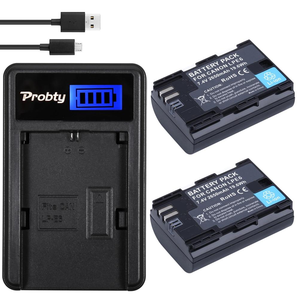 Prix pour PROBTY 2 pcs LP-E6 LP E6 Batterie + LCD USB Chargeur Pour Canon EOS 5DS R 5D Mark II 5D Mark III 6D 7D 60D 60Da 70D 80D DSLR EOS 5D