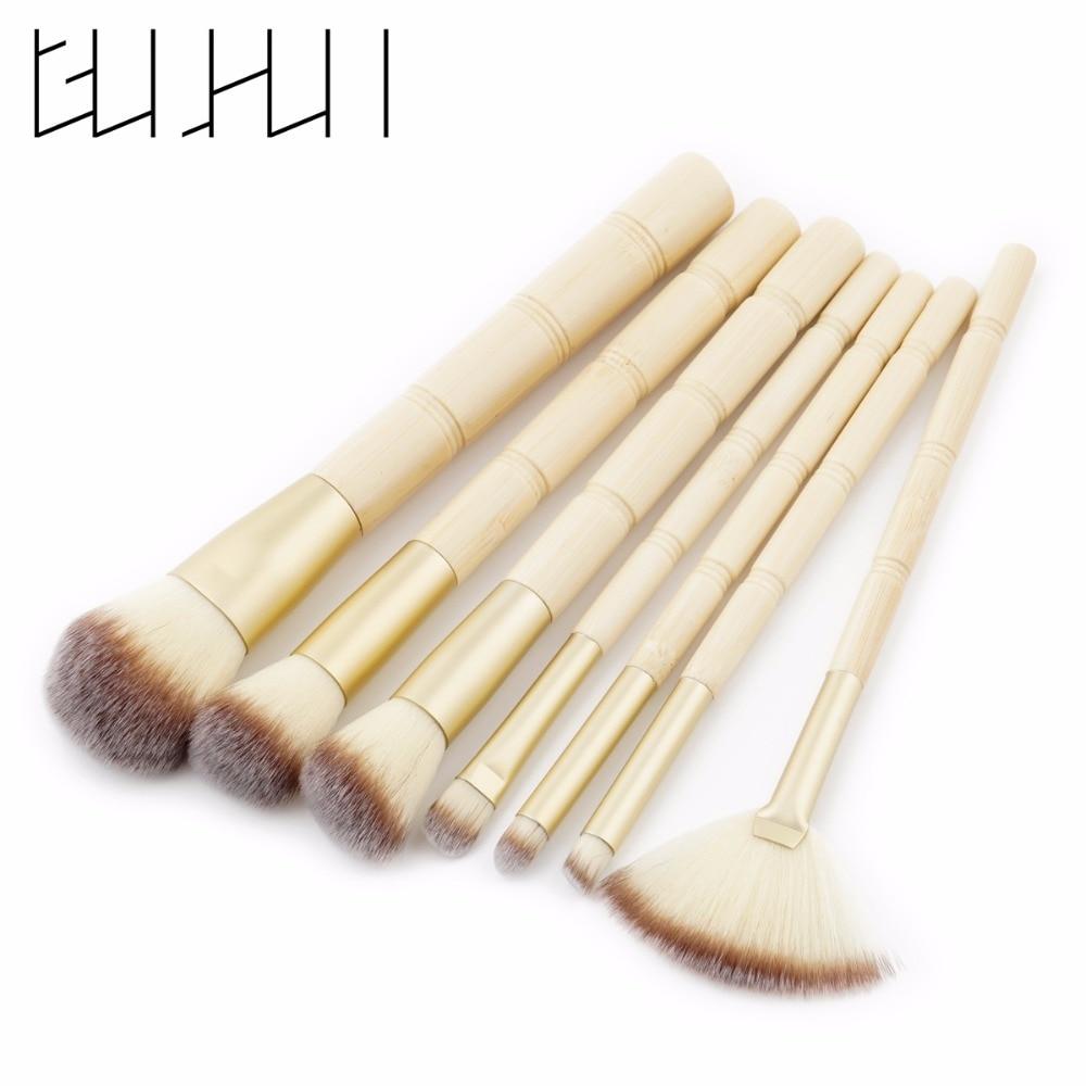 GUJHUI New 7pcs Bamboo Makeup Brushes Kit Natural Soft Bristles Foundation Blush Eyeshadow Cosmetic Brush Set Make Up Tool soft eye brush 7pcs