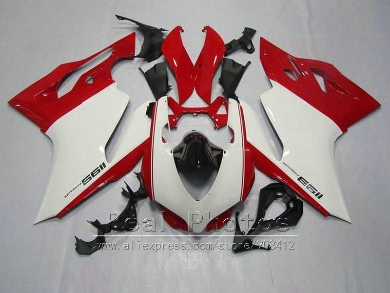 Injection mold 100% fit for Ducati 1199 12 13 white red bodywork fairings set 1199 2012 2013 HR64