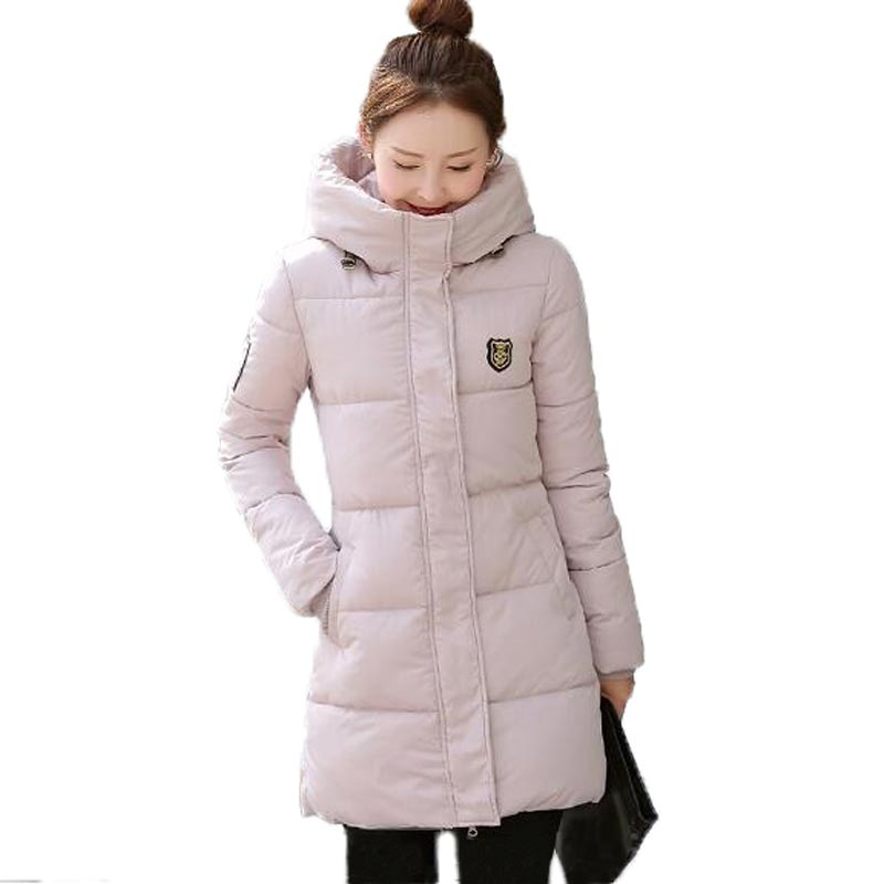 2016 New Jacket Women Winter Thickening Long Cotton-padded Coat Hooded Slim Overcoat with Appliques Plus Size M-3XL PW0092 2017 new autumn winter cotton coats women vintage print long hooded thickening cotton padded jacket warm overcoat plus size z162