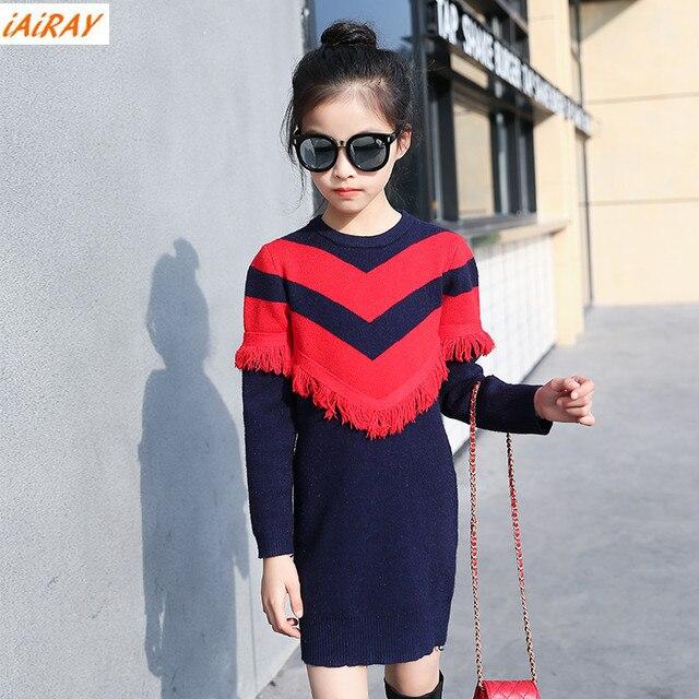 IAiRAY корейский стиль девушки негабаритных длинный свитер платье с кисточкой красной полосой дети свитер девушка подарок детская одежда брендов