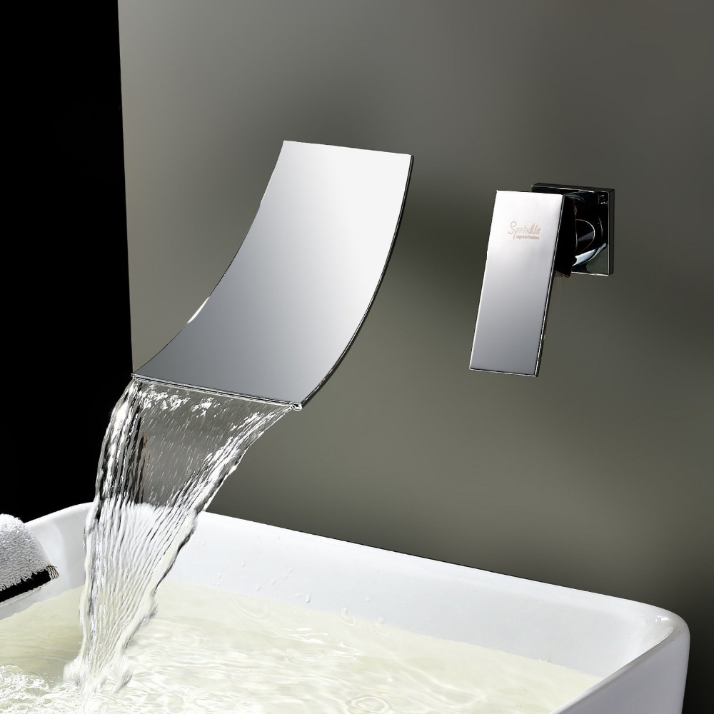 Two Pieces Wall Mounted Waterfall Basin Mixers Bathroom Basin Water Faucet Taps Dona4068