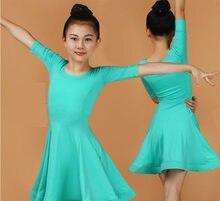 2020 meninas vestidos latinos para dança de salão vestido rumba samba elastano crianças samba cha cha tango saia padrão salsa