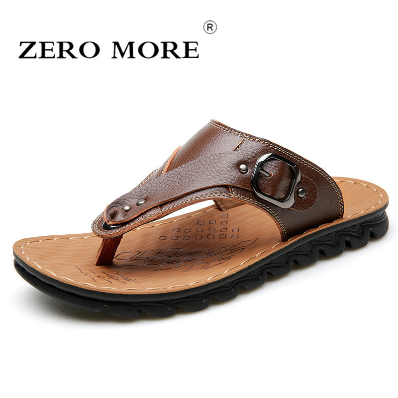 ZERO MORE Luxury Brand 2018 New Mens Flip Flops Genuine Leather Slippers Summer Fashion Beach Sandals Shoes For Men
