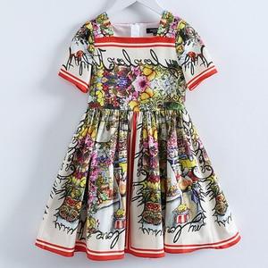 Image 1 - Beenira çocuk giysileri 2020 yeni yaz tarzı çocuk kısa kollu moda çiçek prenses elbiseler kızlar için tasarım giyim elbise