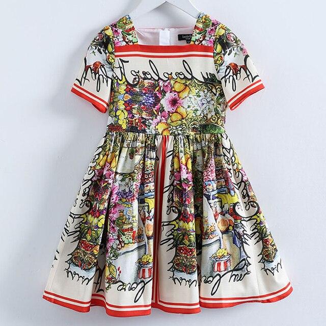 Beenira çocuk giysileri 2020 yeni yaz tarzı çocuk kısa kollu moda çiçek prenses elbiseler kızlar için tasarım giyim elbise