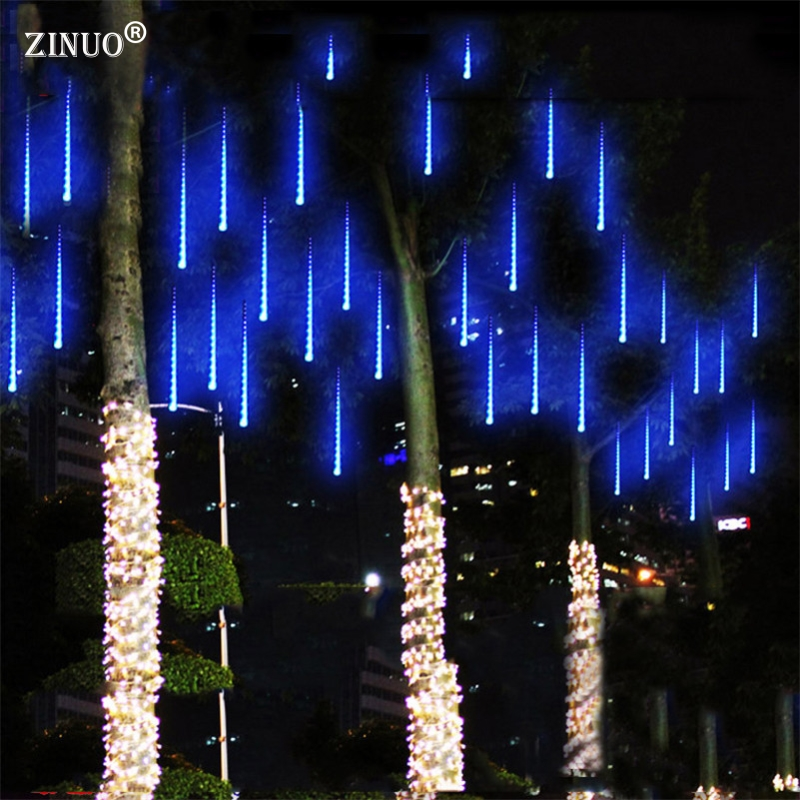 ZINUO Multi-color 30CM Meteor Shower Rain Tubes AC100-240V LED Christmas Lights Wedding Party Garden Xmas String Light Outdoor 20cm meteor shower rain tubes christmas lights led lamp 100 240v outdoor holiday light new year decoration drop shipping