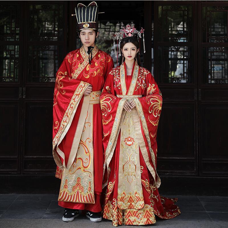 High Quality Standard Tang Ming China Wedding Costume Dress Chinese Ancient Wedding Hanfu Bride Long Tail Couple Costume Garment