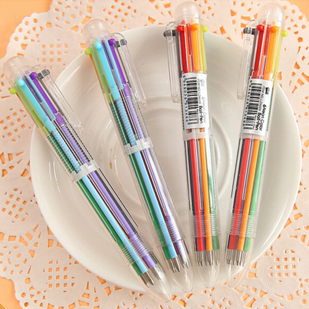Colorful Multi-color 6 in 1 Color Ballpoint Pen Ball Point Pens School Office