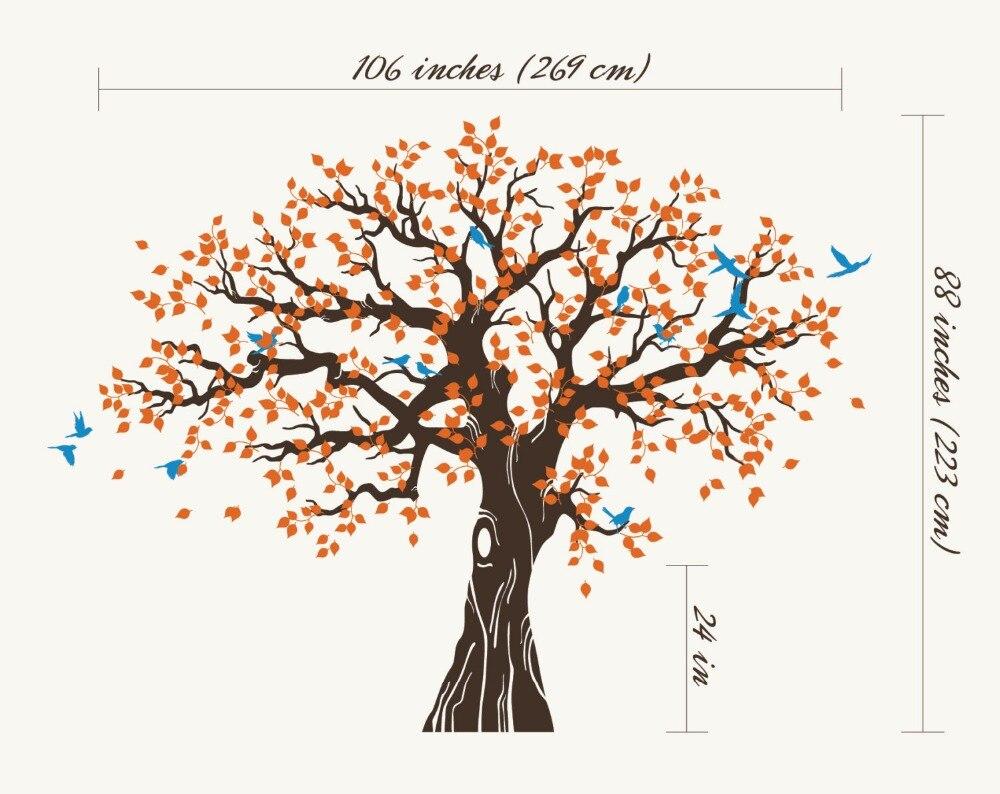 269X233 cm grand arbre vert avec oiseaux Sticker Mural vinyle salon Art Mural décor à la maison 3d affiche vinilos paredes Mural D984 - 4