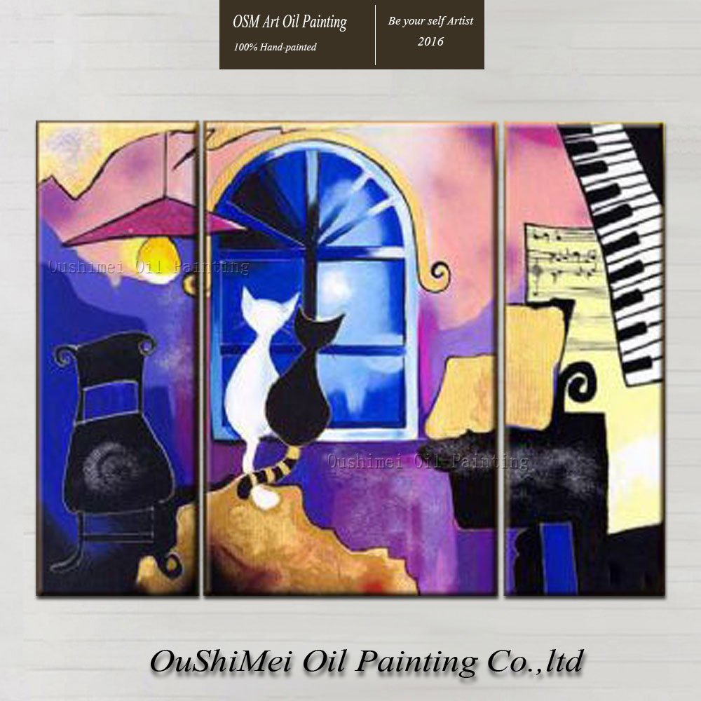 work skills promotion shop for promotional work skills on top skills artist hand painted high quality black and white cat oil painting on canvas modern abstract cats oil painting decor