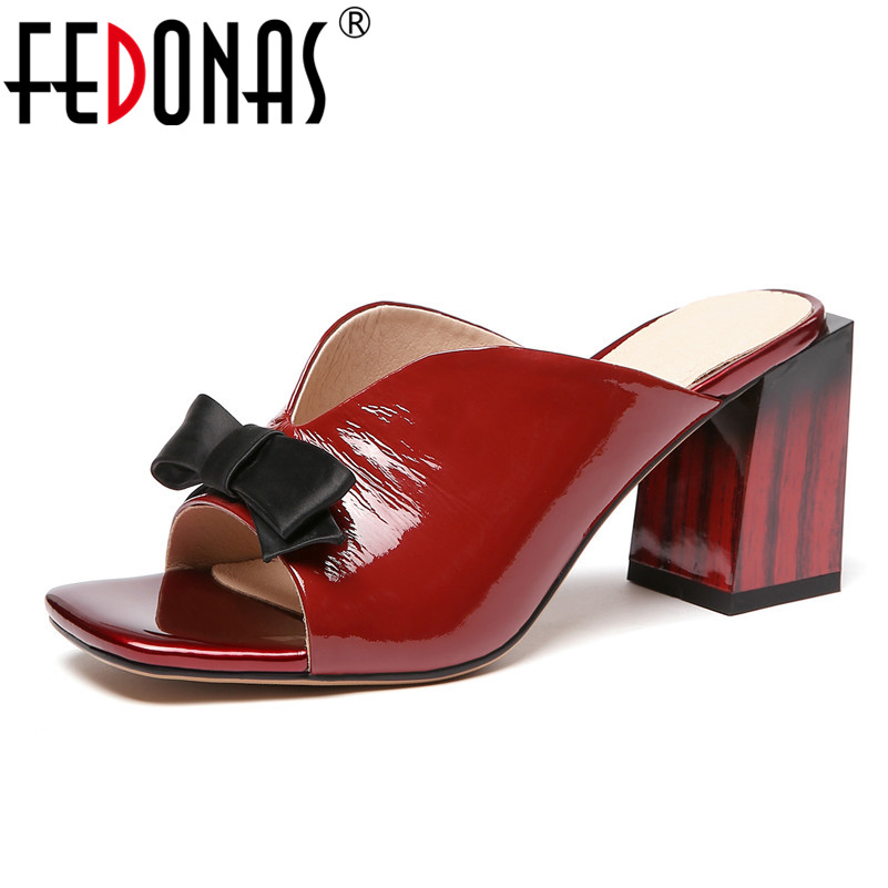 FEDONAS Classic Genuine Leather Rome Women Sandals 2019 New Square Toe Square Heeled Sexy Shoes Woman