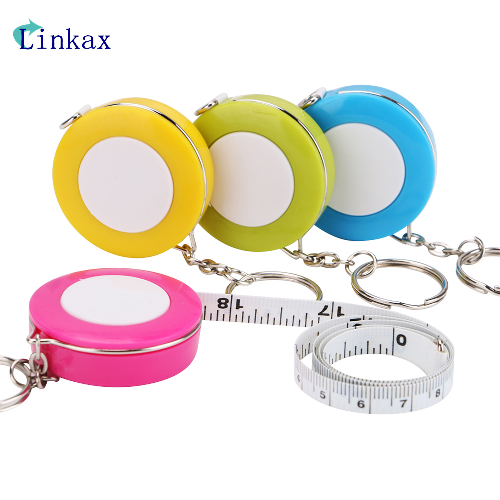 Candy Color Keychain 1.5m Retractable Ruler Centimeter/Inch Tape Measure Mini Ruler Cute Design Great for Travel Camping new 1pc 1m 3ft easy retractable ruler tape measure mini portable pull ruler keychain color random