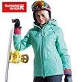 Running river mujeres nieve chaqueta de esquí de invierno impermeable a prueba de viento caliente de esquí chaquetas de nieve de invierno al aire libre chaqueta deportiva # a4053