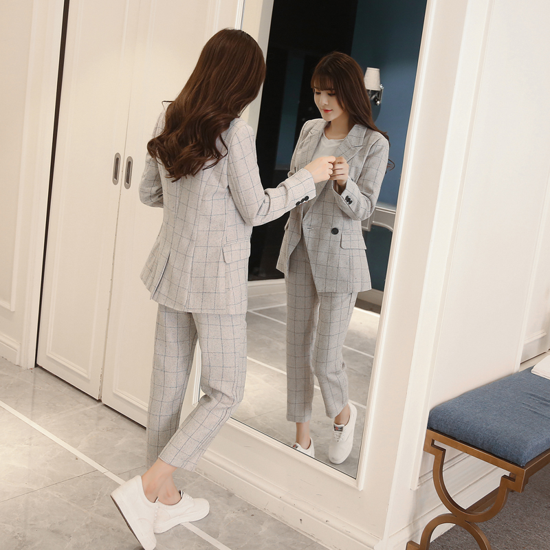 New Autumn Winter Women's Classic Pants Suits Fashion Striped Turn-down Collar Tops And Casual Pants Two Piece Sets S99021L 5