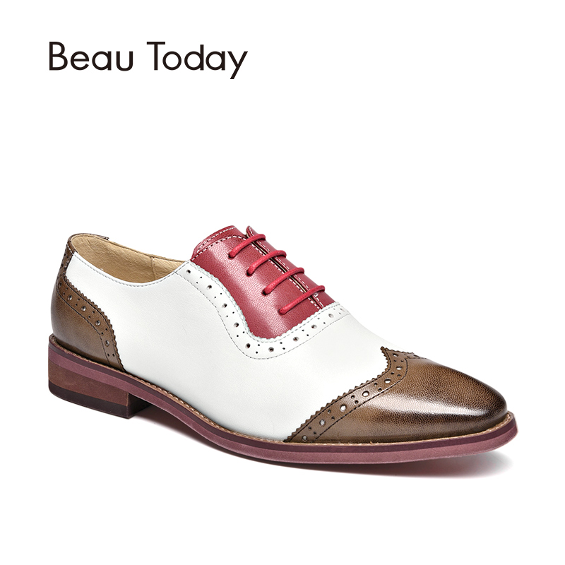 BeauToday Brogue Shoes Women Genuine Leather Round Toe Lace-Up Mixed Colors Sheepskin Wingtip Female Flats Handmade 21410 plus size 32 45 brogue shoes women genuine full grain leather round toe lace up 2018 fashion handmade lady flats wingtip oxfords