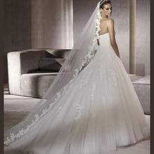 Белая кружевная Фата для невесты, 300 см, Соборная индивидуальная свадебная вуаль, тюль цвета слоновой кости, свадебные аксессуары для невесты