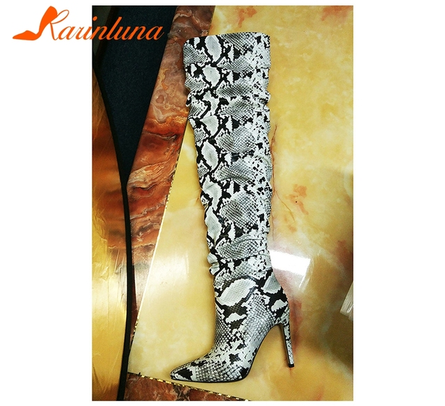 KARINLUNA Slouch Thigh High Boot Snake Skin Over The Knee Boots Sexy Super High Thin Heel Pleated Pointed Toe Botte Femme Talon