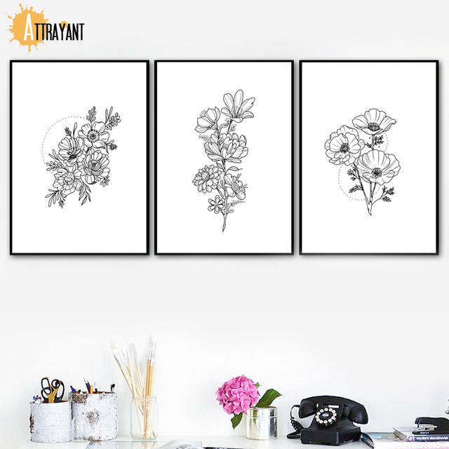 Hand Drawn Black White Flower Minimalism Wall Art Canvas Painting Nordic Posters And Prints Wall Pictures For Living Room Decor