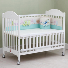 Baby Bed Bumper With Elephant Zebra Toys Sleeping Bedding Set Embroidered Design Breathable Crib Protector Useful Baby Bumper