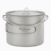 Rover Camel 0.9L Titanium Pot Ultralight Outdoor Camping Cookware Picnic Cooking Pot 900ml with long handel