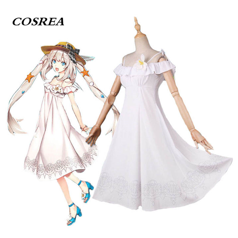 COSREA Fate/Grand Order Marie Antoinette Cosplay Costume White Summer Maxi Swimwear Dress Halloween Carnival Party For Woman