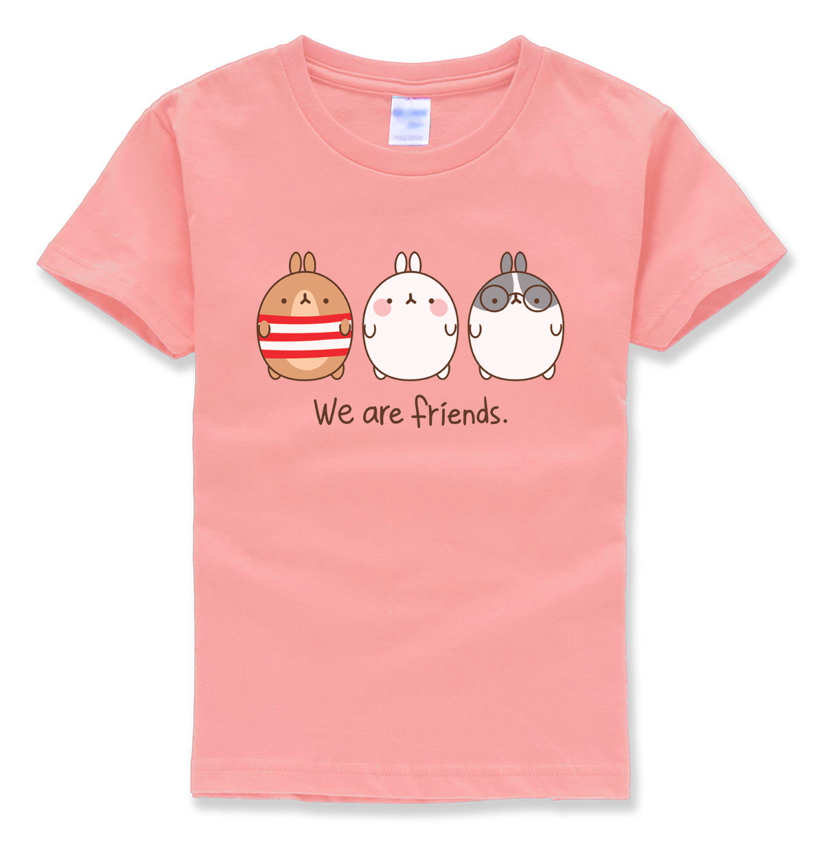 हम फ्रेंड्स लेटर प्रिटिंग फनी एनिमल टॉप्स कार्टून टी शर्ट समर 2018 नए फैशन ब्रांड के कपड़े ब्वॉय कपड़े बच्चों की टी-शर्ट