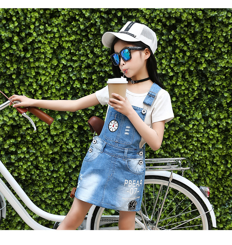 2017 Top Brand Summer Gilrs Children's Sets T-Shirt Overalls Jeans Suit Set of 2 Floral O-neck High Quality Princess Style used board for galanz air conditioning computer board circuit board gal0411gk 12aph1