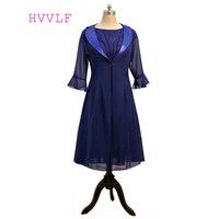 Azul marinho 2017 Mãe Da Noiva Vestidos A Linha Chiffon Lace Tornozelo Comprimento Com Jacket Vestidos Mãe Do Noivo Para O Casamento