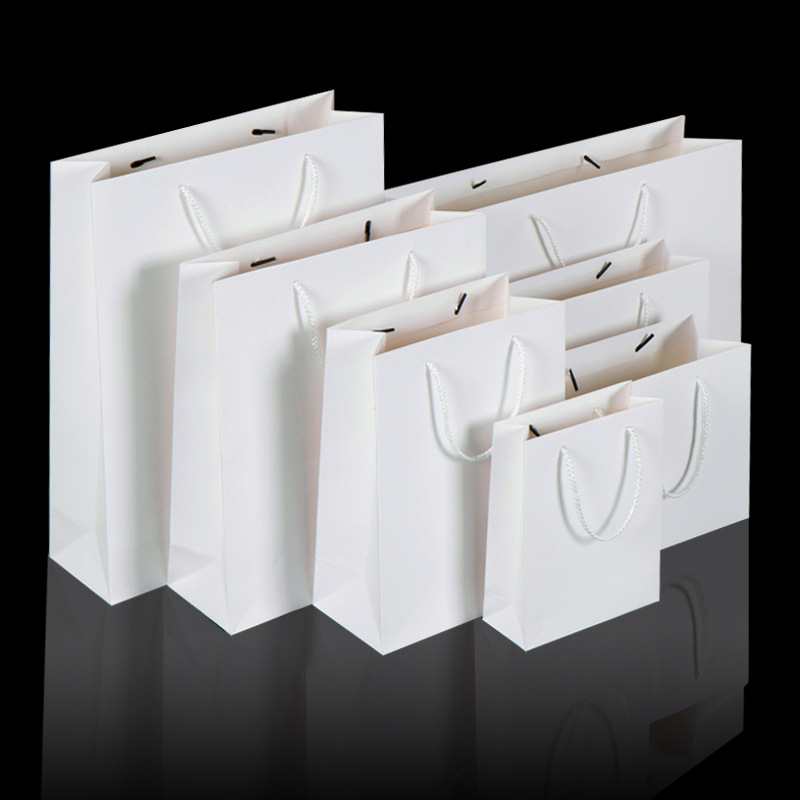 200 개/몫 화이트 크 래 프 트 종이 가방 핸들 결혼식 파티 호의 종이 선물 가방-에서선물가방&포장용품부터 홈 & 가든 의  그룹 1