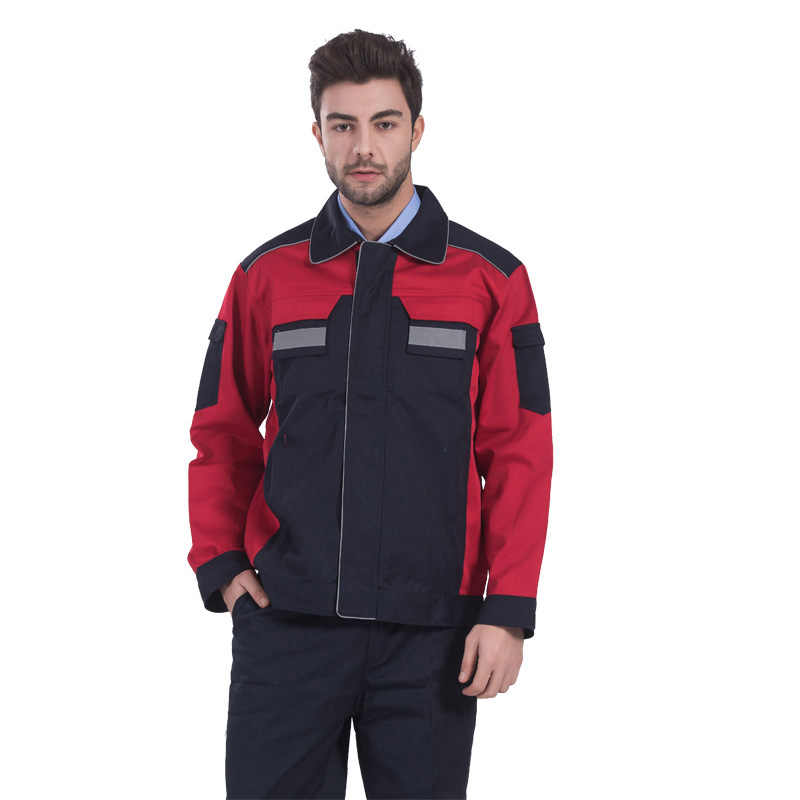Mens Reflective Safety Industrial Workwear Jacket and Trouser Work Set Clothing with Reflective Stripe Embroidery Logo Printing