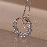 Heißer Verkauf Förderung Neue Shiny Zirkon Kristall Kreis 925 Sterling Silber frauen Anhänger Halsketten Schmuck Geschenk