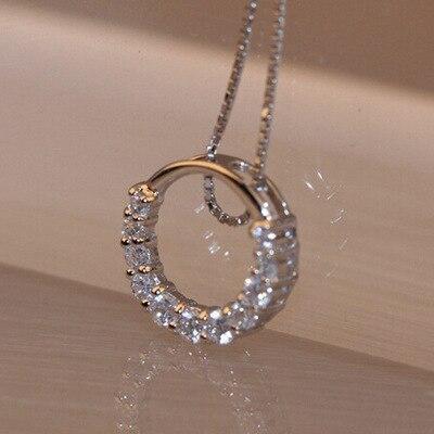 Colliers pendentif en argent Sterling offre spéciale, cercle en cristal Zircon brillant, cristal brillant, pour femmes, idée cadeau, nouvelle collection 925