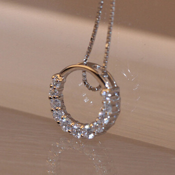 Hot Sale Promotion New Shiny Zircon Crystal Circle 925 Sterling Silver Womens Pendant Necklaces Jewelry Gift