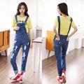 Fashion spaghetti strap pants preppy style all-match hole denim suspenders trousers female 8798