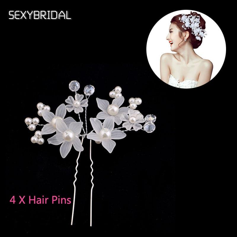 Simulated Pearl Bridal Hair Sticks Headpiece Forehead White Flower Beads Hair Pin Tiara Wedding Hair Jewelry Accessories LB