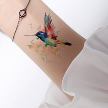 3D Watercolor Temporary Tattoo Birds Women Hands Arm Tattoo Stickers Hummingbird Flash Girls Body Cosmetic Waterproof Tatoos DIY(China)