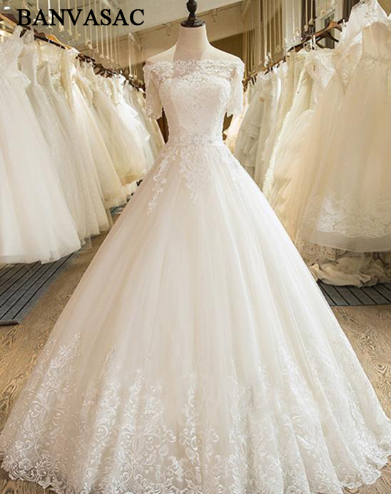 BANVASAC 2017 Nuevo Bordado Elegante Barco Cuello Vestidos de Novia - Vestidos de novia